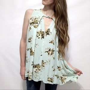 Free People Floral-Print Keyhole Sleeveless Tunic